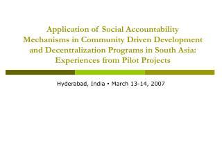 Hyderabad, India  ?  March 13-14, 2007
