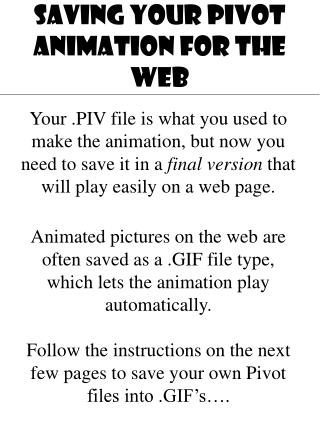 SAVING YOUR PIVOT ANIMATION FOR THE WEB