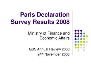 Paris Declaration Survey Results 2008