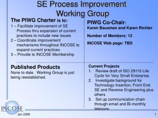 SE Process Improvement  Working Group