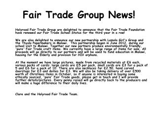 Fair Trade Group News!