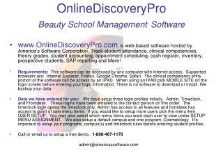 OnlineDiscoveryPro Beauty School Management Software