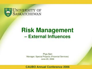 Risk Management  – External Influences