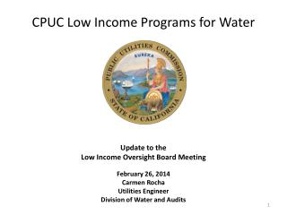 CPUC Low Income Programs for Water