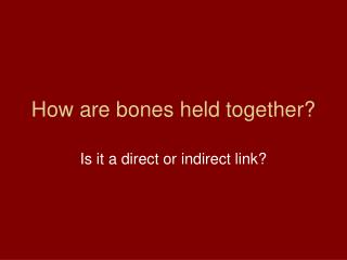 How are bones held together?