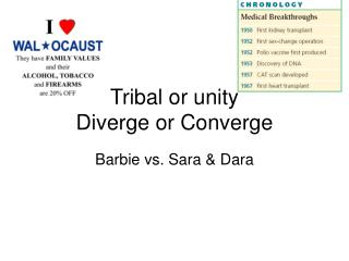 Tribal or unity Diverge or Converge