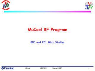 MuCool RF Program