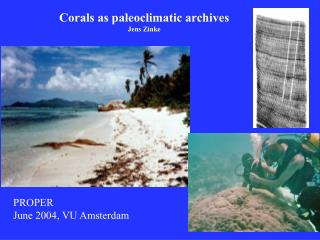 Corals as paleoclimatic archives Jens Zinke
