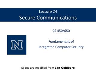 Lecture 24 Secure Communications