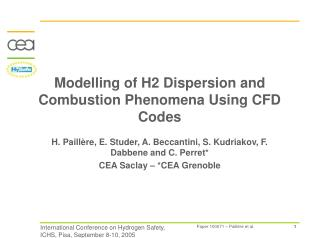 Modelling of H2 Dispersion and Combustion Phenomena Using CFD Codes