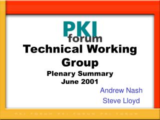 Technical Working Group Plenary Summary June 2001