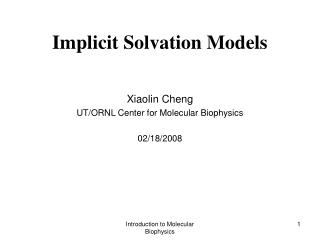 Implicit Solvation Models