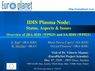 IDIS Plasma Node:  Status, Aspects & Issues Overview of JRA-IDIS (WP#25) and SA-IDIS (WP#21)