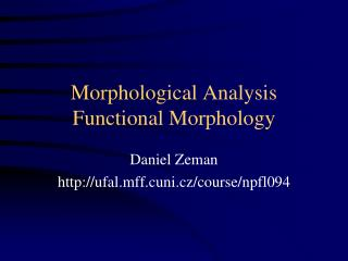 Morphological Analysis Functional Morphology