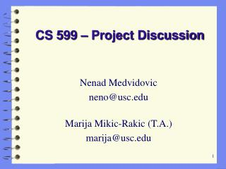CS 599 – Project Discussion