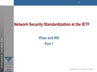 Network Security Standardization at the IETF