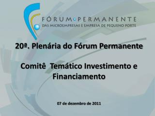 20ª. Plenária do Fórum Permanente Comitê  Temático Investimento e Financiamento
