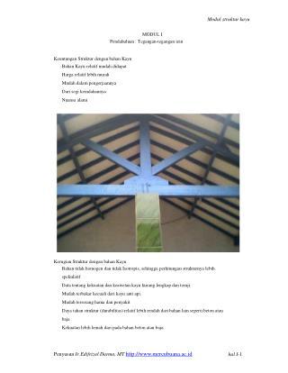 Modul struktur kayu MODUL I Pendahuluan : Tegangan-tegangan izin