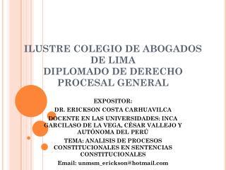 ILUSTRE COLEGIO DE ABOGADOS DE LIMA DIPLOMADO DE DERECHO PROCESAL GENERAL