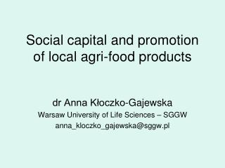 Social capital and promotion of local agri-food products