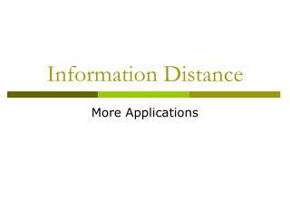 Information Distance