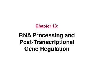 Chapter 13: RNA Processing and Post-Transcriptional Gene Regulation