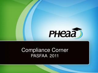 Compliance Corner PASFAA  2011