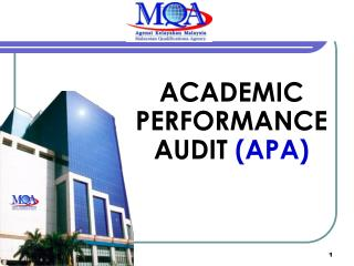 ACADEMIC PERFORMANCE AUDIT (APA)