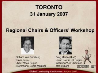 Regional Chairs  Officers  Workshop