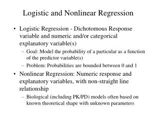 Logistic and Nonlinear Regression