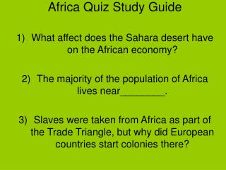 Africa Quiz Study Guide