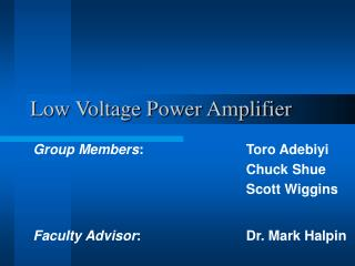 Low Voltage Power Amplifier