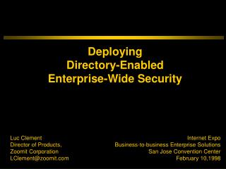 Deploying Directory-Enabled Enterprise-Wide Security