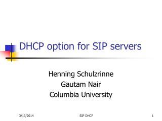 DHCP option for SIP servers