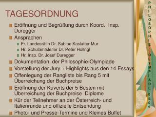 TAGESORDNUNG