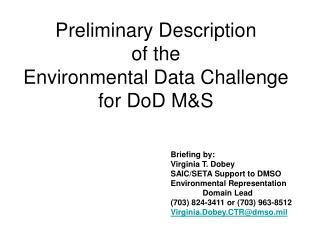 Preliminary Description of the Environmental Data Challenge for DoD M&S