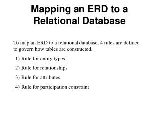 Mapping an ERD to a Relational Database