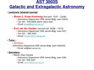 AST 3003S Galactic and Extragalactic Astronomy