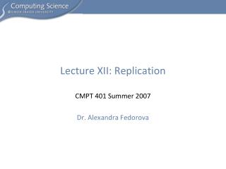 Lecture XII: Replication