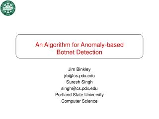 An Algorithm for Anomaly-based  Botnet Detection