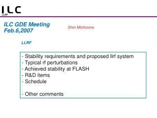 ILC GDE Meeting Feb.6,2007