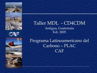 Taller MDL  - CD4CDM Antigua, Guatemala  Feb. 2005 Programa Latinoamericano del Carbono – PLAC CAF