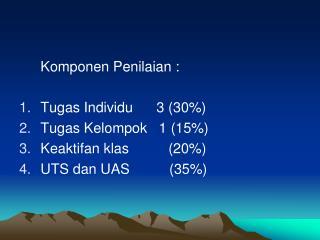 Komponen Penilaian : Tugas Individu      3 (30%) Tugas Kelompok   1 (15%)