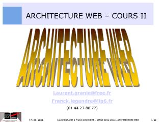 ARCHITECTURE WEB – COURS II