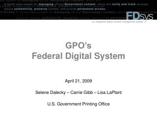 GPO's  Federal Digital System
