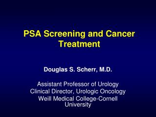 PSA Screening and Cancer Treatment