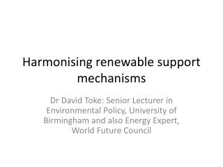 Harmonising renewable support mechanisms