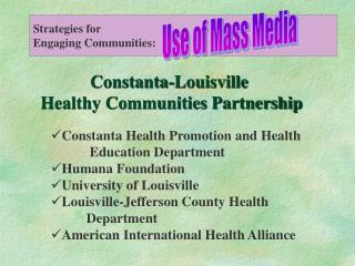 Constanta-Louisville  Healthy Communities Partnership