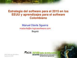 Estrategia del software para el 2015 en los EEUU y aprendizajes para el software Colombiano