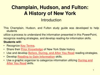 Champlain, Hudson, and Fulton:      A History of New York